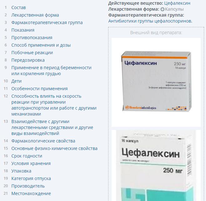 цефалексин и его упаковка