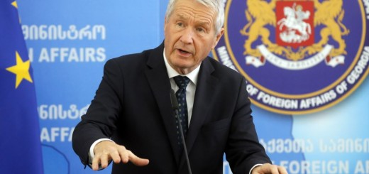 epa05761106 Council of Europe Secretary General Thorbjorn Jagland (L) speaks during a joint press conference with Georgian Foreign Minister Mikheil Janelidze (unseen) following their meeting in Tbilisi, Georgia, 30 January 2017. Thorbjorn Jagland is on a working visit to Georgia.  EPA/ZURAB KURTSIKIDZE