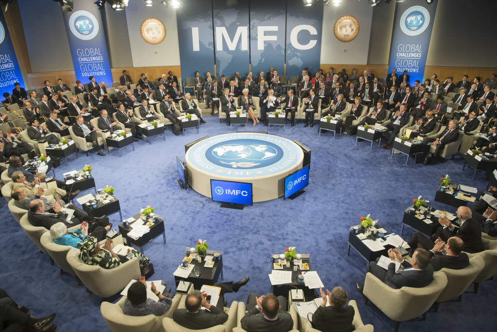IMFC Governors applaud after UN Secretary General Ban Ki Moon addressed them April 18, 2015 at the IMFC meeting at the 2015 IMF/World Bank Spring Meetings In Washington, DC. This was the first time a UN Secretary General has attended the IMFC meeting. IMF Staff Photo/Stephen Jaffe