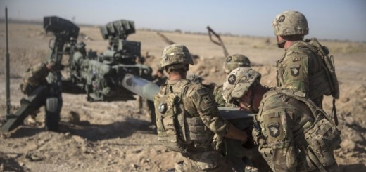 U.S. Soldiers with Task Force Iron maneuver an M-777 howitzer, so it can be towed into position at Bost Airfield, Afghanistan, June 10, 2017. The Soldiers are here to provide accurate fires capabilities in support of Task Force Southwest and Afghan National Defense and Security Forces during current operations. Task Force Southwest, comprised of approximately 300 Marines and Sailors from II Marine Expeditionary Force, are training, advising and assisting the Afghan National Army 215th Corps and the 505th Zone National Police. (U.S. Marine Corps photo by Sgt. Justin T. Updegraff)