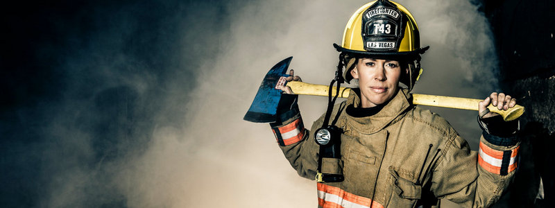 Firefighter Aimee Thatcher '96 poses for a portrait December 9, 2015 at the Las Vegas Fire Department Training Center in Las Vegas, Nevada. Thatcher is one of 27 women in a department of 650 firefighters.