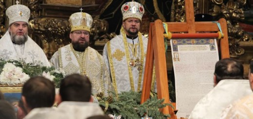 The Tomos, a decree granting Ukraine church independence seen during the Orthodox Christmas service at St. Sophia Cathedral in Kiev..Tomos of autocephaly, a decree granting Ukraine church independent of Moscow, was signed at the historic ceremony in Istanbul on 5 January 2019.